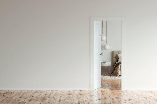 Empty room with an open door to a beige modern bedroom. 3d illustration