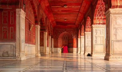 The red Jama Mosque (Masjid Jahan Numa), built in the 17th in Mughal architecture, is one of the largest mosques in India Papier Peint