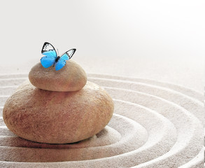 Photo sur Plexiglas Zen pierres a sable zen garden meditation stone background and butterfly with stones and lines in sand for relaxation balance and harmony spirituality or spa wellness