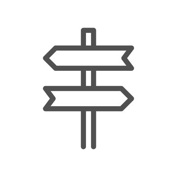 Signpost, pointer outline icon. Road Direction sign simple line symbol. Linear style icon. flat design element. Editable stroke. 48x48 Pixel Perfect.