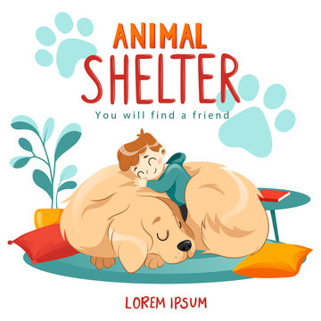 Animal Shelter design poster with child, dog and decorations. Illustration showes animal adoption, care, homeless help.