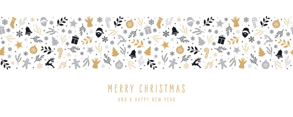 Wall Mural - Christmas icon elements border decoration card with greeting text seamless pattern isolated white background.