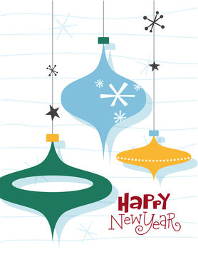 Happy New Year. Christmas card with three balls and snowflakes. Illustrations in mid-century style.