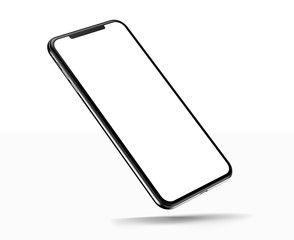 Smartphone frameless blank screen mockup template on corner isolated on white background