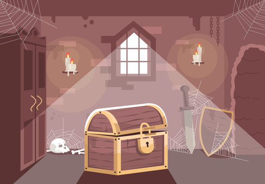 Medieval themed escape room flat vector illustration. Quest room interior with chest, sword and shield. Searching solution, mystery investigation, solving puzzle. Treasure hunt, logic game