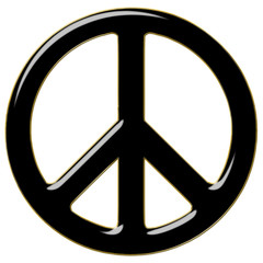 Peace symbol in Back with golden outline. 3D illustration on white background.