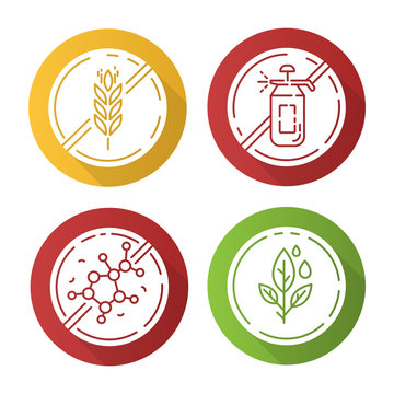 Product free ingredient flat design long shadow glyph icons set. No gluten, pesticide, lectin, paraben. Organic food for weight loss. Dietary without allergens. Vector silhouette illustration
