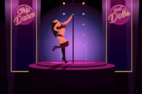 Strip dance flat vector illustration