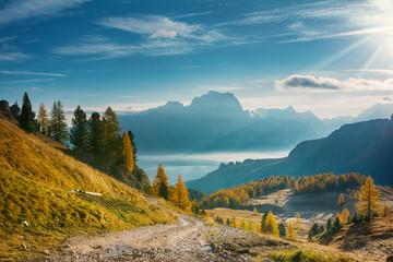 Landscape of beautiful autumn picturesque mountains