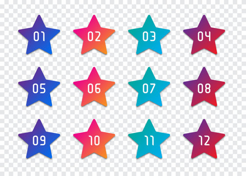 Set of star number bullet point 1 to 12