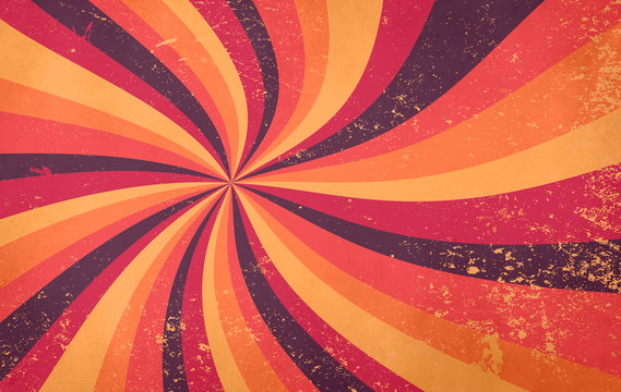 retro starburst sunburst background pattern and grunge textured vintage autumn color palette of burgundy red pink peach orange yellow and purple brown in spiral or swirled radial striped design
