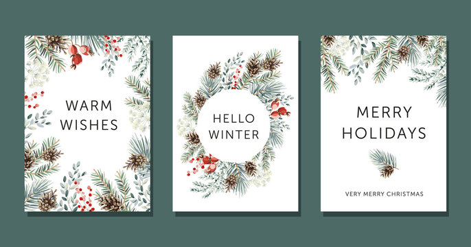 Christmas nature design greeting cards template, circle frame, text Hello Winter, Warm Wishes, Merry Holidays, white background. Green pine, fir twigs, cones, red berries. Vector xmas illustration