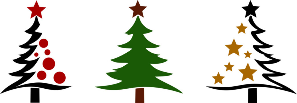 Christmas Tree Silhouette Vector isolated