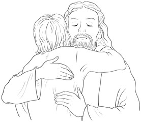 Jesus hugging child black and white illustration. Vector cartoon christian coloring page