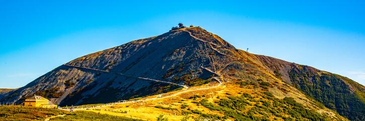 Fototapeta Snezka - the highest mountain of Czech Republic. Krkonose National Park, Giant Mountains obraz