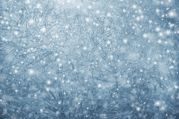 Winter frosty patterns and snow. Christmas background