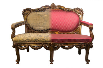 Antique Vintage sofa before and after restoration, in a single photo