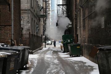 Keuken foto achterwand Smal steegje street in winter
