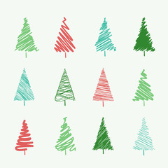 Set of scribble Christmas tree vectors, isolated on an off-white background