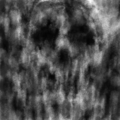 Evil skull for Halloween. Illustration in genre of horror. Black and white colour sketch with noise effect.