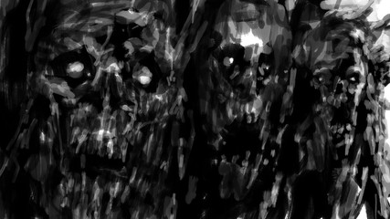 Scary zombies image for Halloween. Gloomy characters from nightmares. Horror illustration in black and white colour.