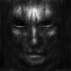 Demonic mask with evil human face. Black and white illustration in horror genre with coal and noise effect.