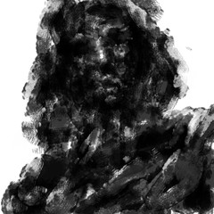 Frightening dead man in the hood. Black and white illustration in horror genre with coal and noise effect.
