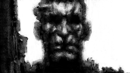 Face drawing of a dangerous soldier with a machine gun in his hand. Illustration in the fantasy genre with the effect of coal and noise. Black and white