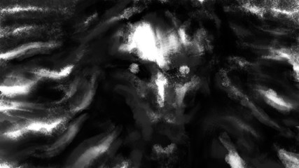 Scary witch face for Halloween. Evil character from nightmares. Horror illustration in black and white colour.