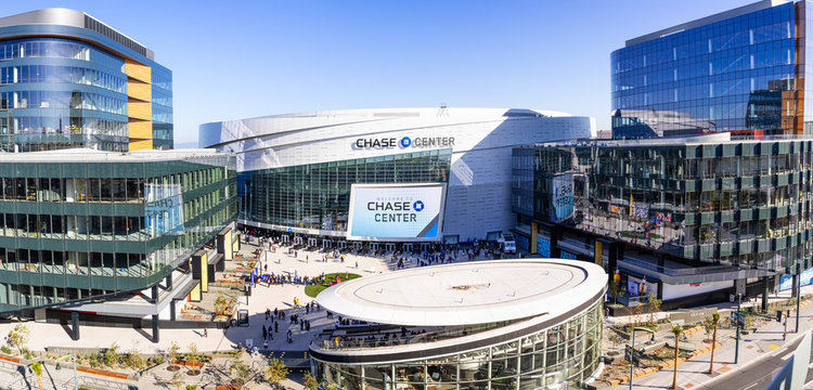 Nov 2, 2019 San Francisco / CA / USA - High angle view of the newly opened Chase Center arena and the new UBER headquarters in the Mission Bay District