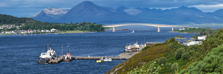 The Skye bridge, the Isle of Skye and The Cuillin mountains