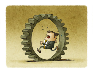 illustration of a businessman who is running inside a cogwheel, Concept of effort and daily routine.