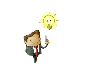 illustration of a man who has a lit bulb above his head. Creativity concept. isolated
