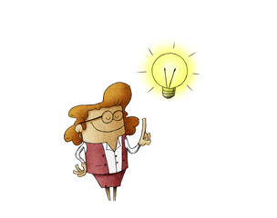 illustration of a businesswoman who has a lit bulb above his head. Creativity concept. isolated