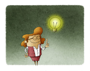illustration of a businesswoman who has a lit bulb above his head. Creativity concept.