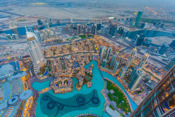 Fotorolgordijn Dubai Aerial view of Downtown Dubai at the sunset