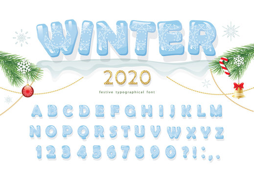 Christmas ice decorative font. New year 2020 winter alphabet. Hand drawn glacial letters, numbers and symbols. For posters, banners, greeting cards design. Vector