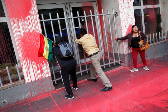 The Economics Ministry building is seen splattered with paint during a protest against Bolivia's President Evo Morales in La Paz
