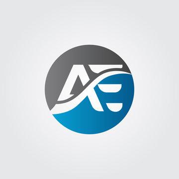 Initial letter mark AE logo Vector. AE Letter logo. AE circle logo.