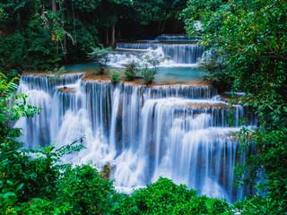 Printed roller blinds Waterfalls Huai Mae Khamin The Most Beautiful Waterfalls in Kanchanaburi Thailand.