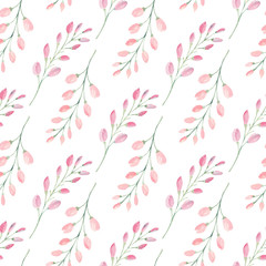 Branches with flower buds watercolor raster seamless pattern