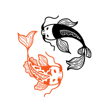 Two Japanese Carp Koi Fishes Isolated on White Background. Couple of Fishes in Asian Traditional Style. Logo Design for Sushi Restaurant Menu. Yin Yang Theme
