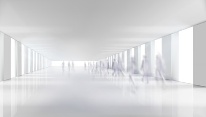 People walking down the shopping gallery corridor. Long hall. Underground passage. Vector illustration.