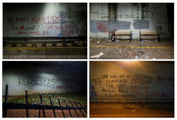 A combination picture shows graffiti near the Indonesian Parliament building in Jakarta