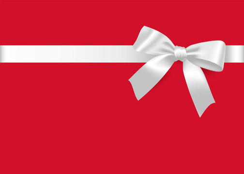 Gift white bow and satin ribbon. Isolated realistic design element for holiday gift decoration, gift card, present, discount and special offer.