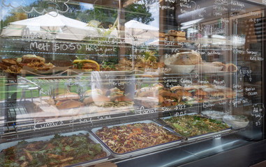 Fresh food in a display cabinet
