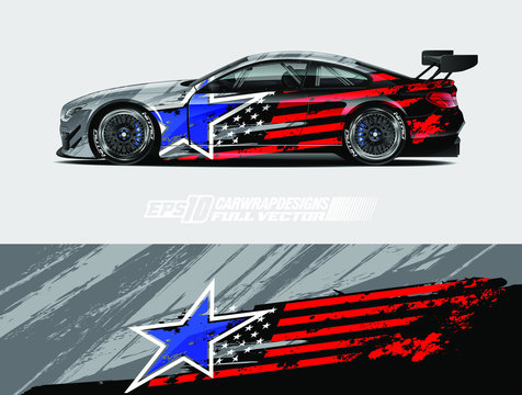 Car wrap decal designs. Abstract american flag and sport background for racing livery or daily use car vinyl sticker. Full vector eps 10.