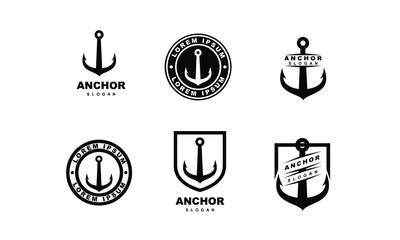 set of Old badge anchor logo icon design vector illustration