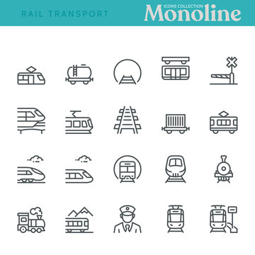 Rail transport Icons,  Monoline concept The icons were created on a 48x48 pixel aligned, perfect grid providing a clean and crisp appearance. Adjustable stroke weight.