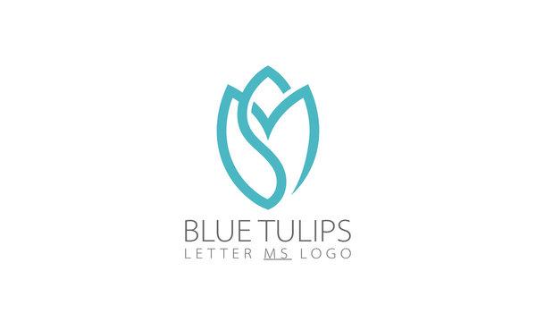 Blue Tulips Letter SM Logo Design